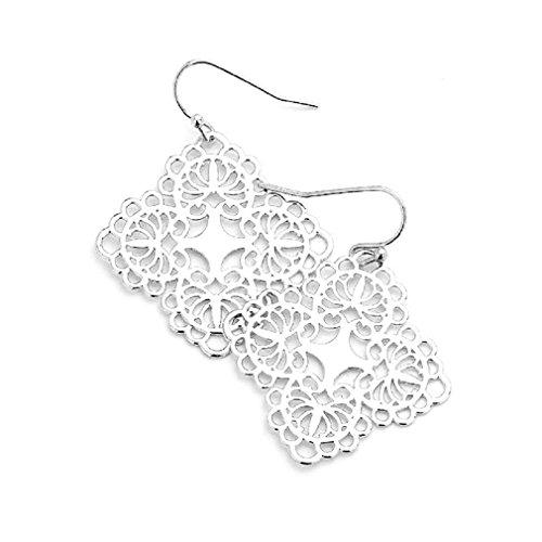 Uniklook Women's Chic Metal Lace Filigree Bohemian Boho Hook Earrings Fashion Jewelry (Silver)