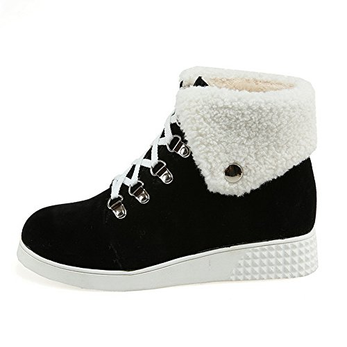 Cold Fur Black Imitated Bandage BalaMasa Weather Collar Suede Womens Boots n1xWqZfUp
