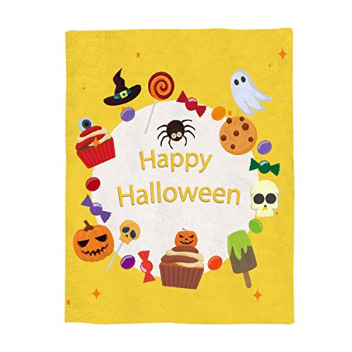 YEHO Art Gallery Flannel Fleece Bed Blanket Soft Throw-Blankets for Adult Kids Girls Boys,Happy Hallowen Cute Candy Ghost Skull,Lightweight Blankets for Bedroom Living Room Sofa Couch,59x79inch ()