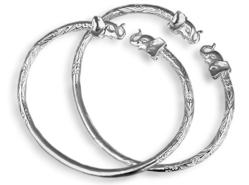 Elephant .925 Sterling Silver West Indian Bangles (Pair) (MADE IN USA) by Better Jewelry
