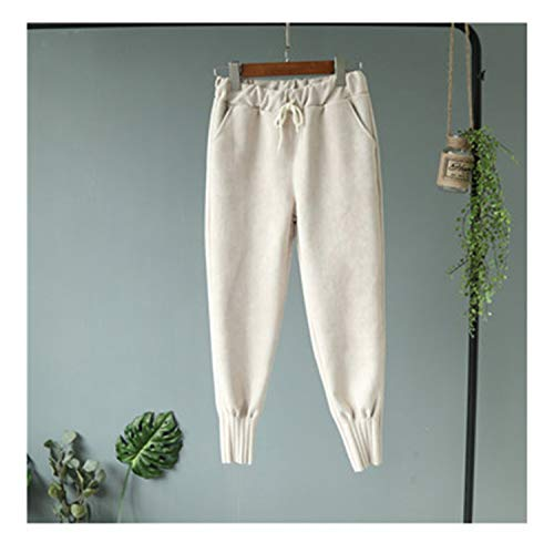 (Spring New Carrot Pants Elastic Waist Suede Big Pocket Casual Embossed Trousers As Pic S)