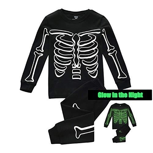 Boys Skeleton Pyjamas (Kids Pajamas for Boys Skeleton Glow-in-The-Dark Cotton Sleepwear Toddler Clothes Halloween Pumpkin Outfit Size 2-7T)