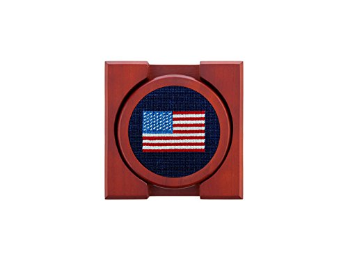 Smathers & Branson Needlepoint Coaster Set American Flag/Dark Navy