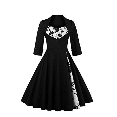 Pinkyee - Vestido - trapecio - para mujer negro (Floral)