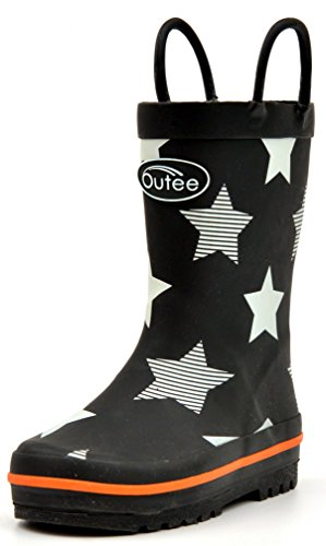 Boots Big Feet - Outee Boys Kids Rubber Rain Boots Waterproof Shoes Printed Black Stars Cute Print with Easy On Handles (Size 3)