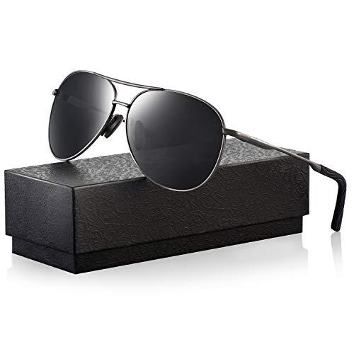 Polarized Aviator Sunglasses for Men - Feirdio Metal Frame Sports UV 400 Protection Mens Women Sunglasses 2261 (black/Gun-2261, - Aviator Men