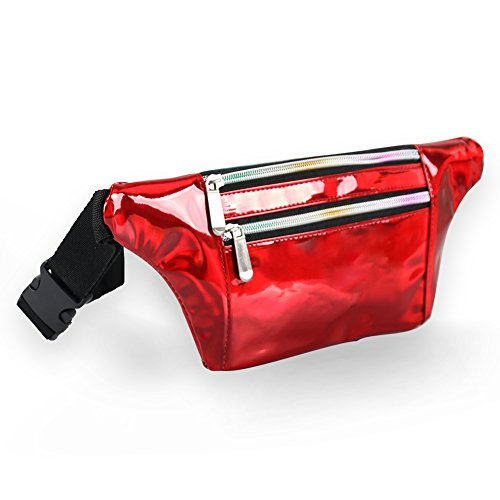 - Mum's memory Holographic Fanny Pack for Women - Metallic Sport Waist Pack for Men for Running, Hiking, Traveling, Camping, Partying, Jogging (Red)