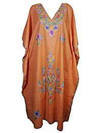 Mogul Womens Orange Kaftan Floral Embroidery Boho Cover Up Caftan Lounger Wear