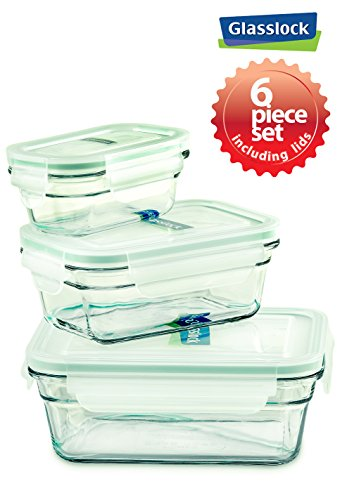 - Snaplock Lid Tempered Glasslock Storage Containers 6pc set Rectangle~Microwave & Oven Safe Spill Proof