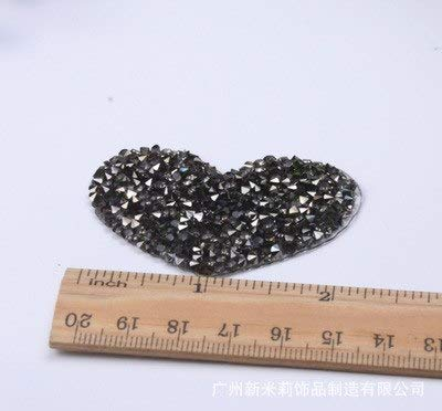 Best Quality - Patches - 4.5cm Love Heart Star Design hotfix Rhinestone Motif Iron on Patches Applique for Heat Transfer Clothing Shoe Bag DIY - by SEWCOLORS - 1 PCs