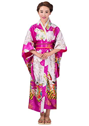 Soojun Women's Traditional Japanese Kimono Style Robe Yukata Costumes 3 Rose Red
