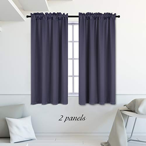 (DONREN Dark Grey Bedroom Blackout Draperies Curtains -Thermal Insulated Room Darkening Draperies Window Treatment with Rod Pocket (2 Panels, 42 Inch Wide by 54 Inch Long))