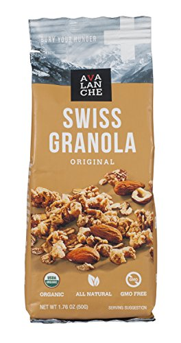 - Avalanche Organic Original Swiss Granola, 1.76 Ounce Bag (Pack of 5) Organic, Non-GMO, All Natural, Kosher, Portable Packet of Granola, Convenient Size Snack On The Go, Can Pour in Milk or Yogurt