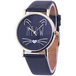 Armanis Reloj de Mujer para Gatos, Reloj de Pulsera electrónico de Cuarzo con Correa de Cuero para el Mejor Regalo.
