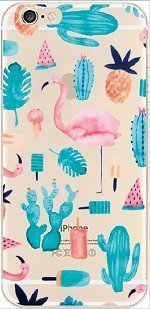 iPhone 6 Case, DECO FAIRY® Protective Case Bumper[Scratch-Resistant] [Perfect Fit] Ultra Slim Translucent Silicone Clear Case Gel Cover for Apple iPhone 6 (watercolor pineapple flamingo (One Direction 5sos Iphone 6 Case)