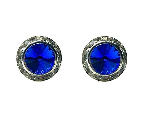 Rivoli Button (Irish Dance Diamond Dot Button Earrings - Sparkling Rhinestone Stud Earrings - Perfect bling for your performance or Feis (Sapphire (Blue) 13mm Rondel with Rivoli Button Stud Earrings))