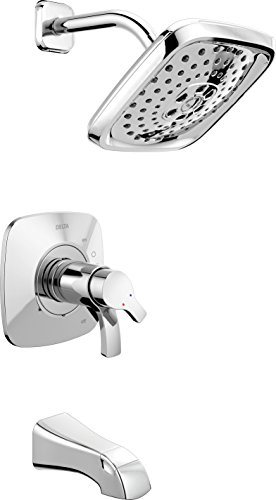 Delta Faucet Tesla 17 Series Dual-Function Tub and Shower Trim Kit with Three-Spray Touch-Clean H2Okinetic Shower Head, Chrome T17452 (Valve Not ()