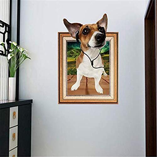 3D Wall Sticker Art Sticker Applique Mural 3D Listen to Music Dog Frame Wall Stickers Home Decor Living Room Stickers Mural for Kids Rooms Nalepki Do Pokoju -