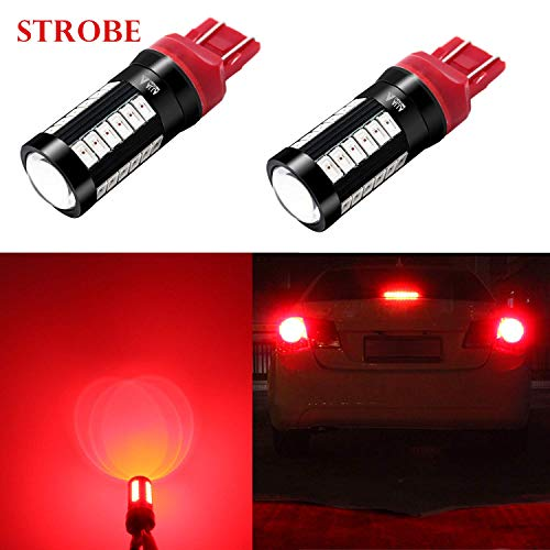 Alla Lighting Red 7440 7443 LED Strobe Flashing Stop Lights 2800lm Xtreme Super Bright T20 7440 7443 LED Bulbs High Power 5730 33-SMD LED 7443 Bulbs 7441 7444 LED Turn Signal Brake Stop Tail Lights