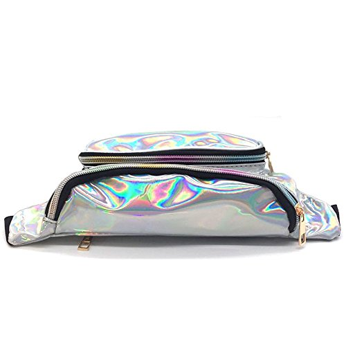 MSFS Women Hologram Bum Waist Bag Laser Funny Pack Waterproof Shiny Neon Pack for Travel Festival Beach (Silver) by MSFS (Image #2)