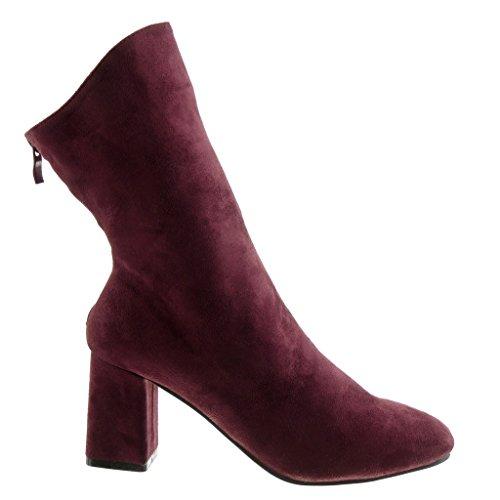 Angkorly Damen Schuhe Stiefeletten - Flexible - Reitstiefel - Kavalier Blockabsatz High Heel 7.5 cm Burgunderrot