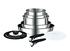 Tefal Ingenio Stainless Steel 13 pieces Cookware Set L9409042 Stackable and Versatile pots and pans with removable handle