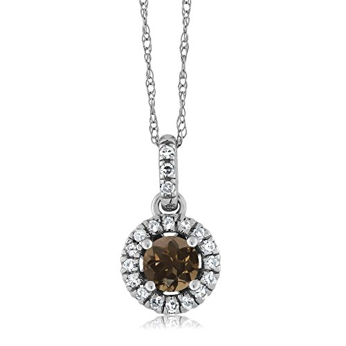 18K White Gold Diamond Halo Solitaire Pendant 0.36 Ct Round Brown Smoky Quartz by Gem Stone King