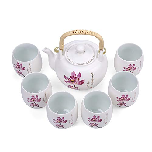 FORLONG Vintage Chinese Style Porcelain Handmade Kung Fu Tea Set with tea pot,tea cups 7-pack