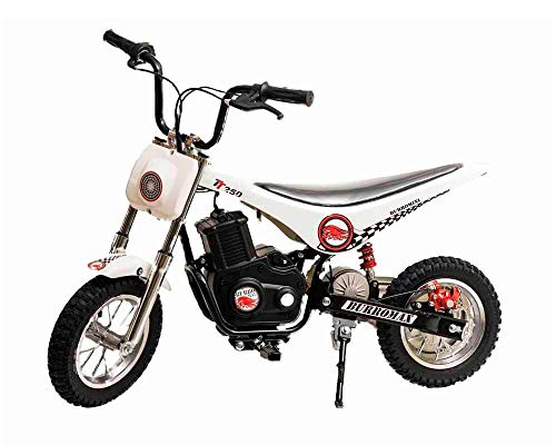 Burromax White TT250 Electric Motorcycle Dirt Bike for Kids | Fast and Long Lasting 24V 250W Charge | Ride On Mini Pocket Bike Off Road 20000