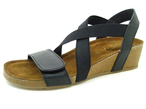 Sol Mia Women's Low Heel Wedge Comfort Sandals Adjustable Elastic Shoes, Black, 10 B(M)/41 M (Mia Wedge Shoes)