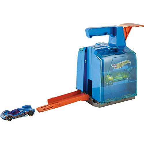 Hot Wheels Track Builder Display Launcher with 2 Vehicles