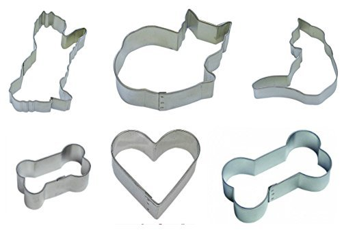 Dog Cat Cookie Cutter Theme Bundle, Set of 6: One 3.5-Inch Dog Bone Cookie Cutter, One 2-Inch Dog Bone Cookie Cutter, One 2-Inch Heart Cookie Cutter, One 3.75-Inch Curled Cat Cookie Cutter, One 4-Inch Playful Cat Cookie Cutter, One 3-Inch Cozy Cat Cookie Cutter