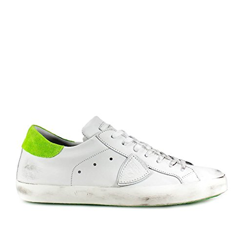 Philippe Model Zapatos Hombre Sneaker Paris Cuero Blanco Verde Primavera Verano 2018