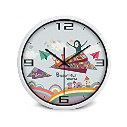 Wenzi-day Cartoon Children Wall Clock Kids Room Cute Fashion Modern Living Room Creative Needle Large Cartoon Home,White Frame6,12 inch