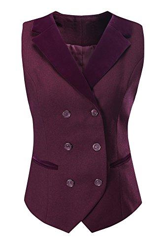 Vocni Women Breasted Lapels Slim Fit Uniform Suit Waistcoat Dressy Vest Wine Red US XS(Asia M) (Fit Bust 30.3''-32.7'') by Vocni
