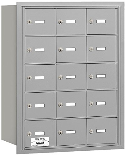 Salsbury Industries 3615ARU 4B Plus Horizontal Mailbox, 15 A Doors, Rear Loading, USPS Access, Aluminum