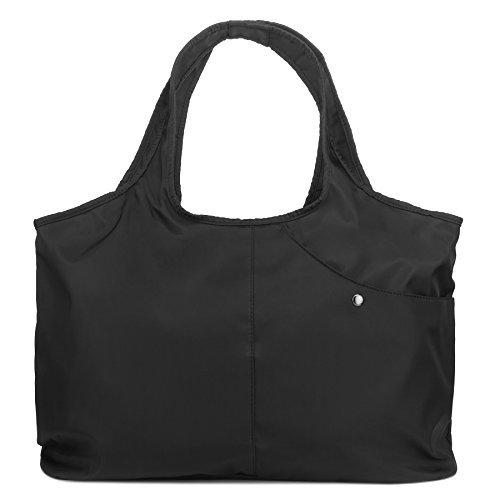 ZORESS Women Fashion Large Tote Shoulder Handbag Waterproof Tote Bag Multi-function Nylon Travel Shoulder(Black)