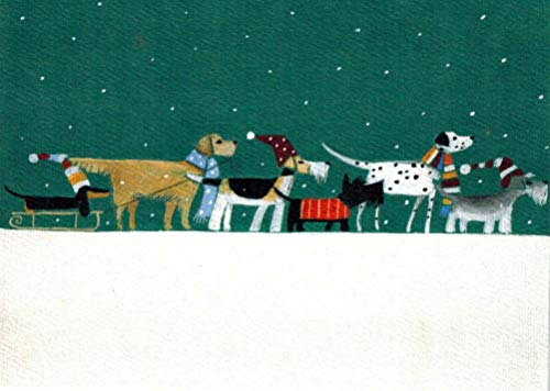 Winter Dogs in a Row Christmas Cards Box of 8 Cards and Envelopes