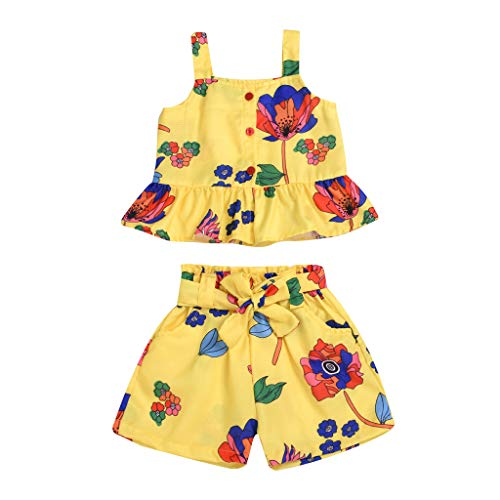 TEVEQ Toddler Baby Kid Girls Floral Ruffle Vest Tops Bow Shorts Outfit Clothes Sets Yellow