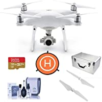 DJI Phantom 4 Advanced Quadcopter Drone with Standard Remote Controller - Bundle With 32GB MicroSDHC U3 Card, DJI Aluminum Case, DJI Quick-Release Propellers, Fast-fold Drone Landing Pad, Cleaning Kit