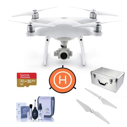 DJI-Phantom-4-Advanced-Quadcopter-Drone-with-Standard-Remote-Controller-Bundle-With-32GB-MicroSDHC-U3-Card-Aluminum-Case-Quick-Release-Propellers-Fast-fold-Drone-Landing-Pad-Cleaning-Kit