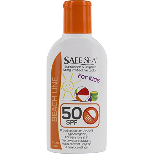 Safe Sea Anti-jellyfish Sting Protective Lotion - Sunscreen - Sunblock - Sea Lice - Jelly Fish (SPF50 for Kids, 4oz Bottle, Single Pack)