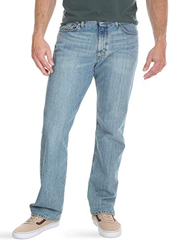 Wrangler Authentics Men's Big & Tall Relaxed Fit Comfort Flex Waist Jean, chalk blue, 50x32 (Best Relaxed Jeans For Men)