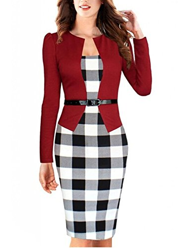 Babyonline Women Colorblock Wear to Work Business Party Bodycon Dress,Large (Red)