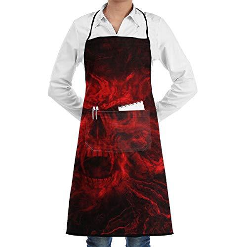 (Kitchen Chef Bib Apron Fire Skull Art Neck Waist Tie Center Kangaroo Pocket Waterproof)