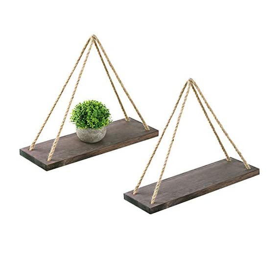 "Oyeye Distressed Wood Hanging Swing Rope Floating Shelves with 4 Stainless Steel Hooks, Set of 2, Brown - 2 Hanging Shelves + 4 Hooks----Our package include 2 Distressed Wood Hanging Swing Rope Floating Shelves and 4 high quality stainless steel hooks, and two of the hooks are spare. High Quality and Elegant----These decorative shelves are appealing and sturdy. Each is made of strong wooden boards (16.7"" x 6"" x 0.79"") featuring a rustic-style torched finish. Multifunction----These decorative shelves can put all sorts of things on display. They are perfect choice for adding additional shelving space for books, collectibles, plants, crafts, photos and more. Simple and elegant! - wall-shelves, living-room-furniture, living-room - 4104fYTXzGL. SS570  -"