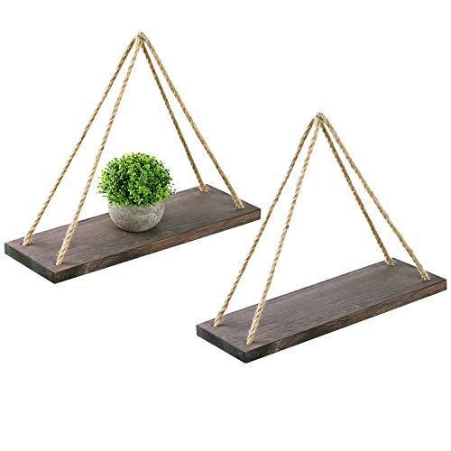 Oyeye Distressed Wood Hanging Swing Rope Floating Shelves with 4 Stainless Steel Hooks, Set of 2, Brown