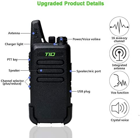 Two Way Radio Walkie Talkies Rechargeable 16 CH VOX Walkie Talkies for Adults UHF 2 Way Radio with Earpiece 10 Pack