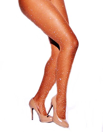 PrincessXOXO Women's Rhinestone Fishnets Tights High Waist Pantyhose Stockings Crystal Mesh (White Rhinestone Nude) -