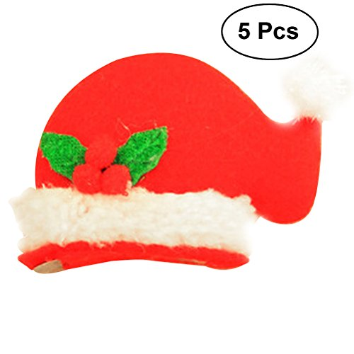 TINKSKY LED Light Up Christmas Hat Hair Clip Fun Xmas Accessories Christmas Birthday Gift for Friends 5PCS (Nipple Cap) ()